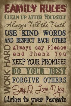 "family rule signs | Vintage Primitive Wood Sign 12"" X 18"" TAN Family Rules Rustic Antique ..."