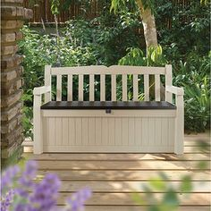 Keter Eden All Weather Outdoor Patio Bench Deck Box Furniture 70 Gal, Beige / Brown