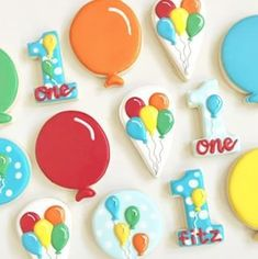 Thing 1 and Thing 2 Party: Twin's first birthday party, oh what fun! Seuss Thing 1 and Thing 2 Party. Seuss and Thing 1 and Thing 2 Party Ideas. First Birthday Cookies, First Birthday Balloons, Baby Birthday Cakes, First Birthday Parties, First Birthdays, Colorful Birthday Party, Birthday Party Desserts, Construction Birthday Parties, Construction Party