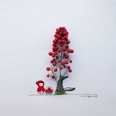 Little Red Riding Hood. by jesuso_ortiz Art Floral, Creative Artwork, Cool Artwork, Creative Illustration, Illustration Art, Art Fantaisiste, Spanish Artists, Everyday Objects, Grafik Design