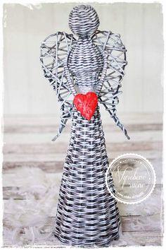 Anjel, Wicker, Sculptures, Bottles, Ornaments, Hand Made, Loom, Sculpture