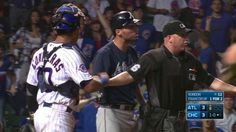 Jeff Francoeur takes a pitch inside and has an animated discussion with Willson Contreras, which leads to the benches clearing Pitch, Baseball Cards, Sports, Hs Sports, Sport