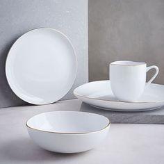Organic Shaped Dinnerware Set - Metallic Rimmed & CB2 Set Of 8 Ledge Dinner Plates | Open shelving White porcelain ...