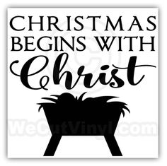 Christmas begins with Christ Vinyl Decal Looks great on glass blocks, a tile, or wood plaque