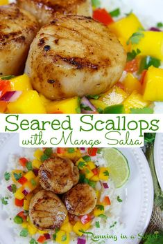Pan Seared Scallops with Mango Salsa recipe - made in cast iron this recipe including how to instructions for the perfect scallop.  This healthy dinner is easy, simple and can be ready in less than 30 minutes. Pescatarian, Gluten Free / Running in a Skirt #pescatarian #healthy #dinner #recipe Easy Dinner Recipes, Healthy Dinner Recipes, Vegetarian Recipes, Delicious Meals, Easy Recipes, Dinner Ideas, Mango Salsa Recipes, Healthiest Seafood, Scallop Recipes
