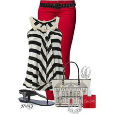 Stripes with pop of red