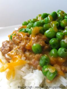 Easy Haystack Dinner-  Printable Recipe    Ingredients-  4 cups water  2 cups rice  2 lbs. ground turkey, or beef  1 - 10¾ oz. can cream of mushroom soup - I used mushroom with roasted garlic soup  1 - 10¾ oz. can cream of celery soup  2 Tbsp. milk  2 cups (16 oz) cooked peas  Shredded cheese for topping    Directions-  In a large pot combine water and rice; bring to a boil. Reduce heat, cover an