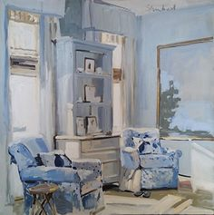 Blue for Two by Laura Lacambra Shubert  Oil ~ 36 x 36