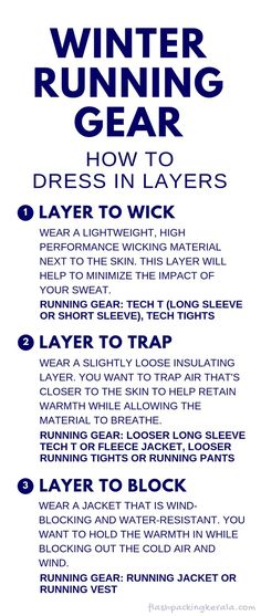Running clothes tips for beginners with best winter running gear to wear in cold weather winter for how to dress in layers like base layer shirt and tights when training for half marathon training plan fitness workout for runners Running In Cold Weather, Winter Running, Winter Hiking, Cold Weather Outfits, Running Clothes Winter, Running Training Plan, Running Gear, Running Jacket, Triathlon Training