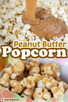 Easy Snacks, Yummy Snacks, Delicious Desserts, Snack Recipes, Dessert Recipes, Yummy Food, Snacks To Make, Peanut Butter Popcorn, Flavored Popcorn