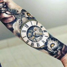 100 Pocket Watch Tattoo Designs For Men - Cool Timepieces - Best Tattoos Hand Tattoos, Neue Tattoos, Best Sleeve Tattoos, Forearm Tattoos, Clock Tattoos, Tattoo Sleeves, Tattoo Art, Maori Tattoos, Tattoos Pics