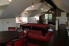 Grey Ceiling, red felt, poker table, needs a wet bar
