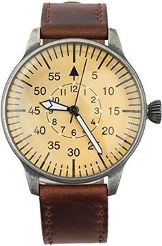 Mil-Tec Luftwaffe ME 109 Pilot Vintage Quartz Watch with Brown Leather Strap – Shopping Guide Vintage Military Watches, Vintage Watches For Men, Luftwaffe, Bellisima, Fashion Watches, Pilot, Brown Leather, German, Ww2