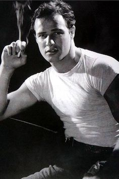 If you were born in that year Marlon Brando was hailed as the new Hollywood wonder actor when he brought his acclaimed Broadway role of Stanley Kowalski to Hollywood - A Streetcar Named Desire opened in December the year you were born. Old Hollywood, Hollywood Stars, Classic Hollywood, Handsome Men, Marlon Brando, Hollywood Men, Actors, Hollywood, Marlon