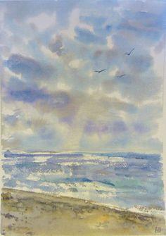 Пейзаж акварелью Холодное Белое море . Принт. от StepanovArt