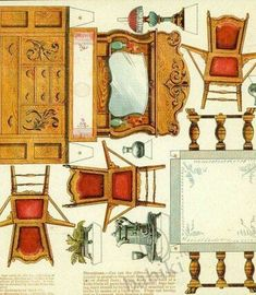 Бумажные куклы — Yandex.Disk Paper Furniture, Doll Furniture, Dollhouse Furniture, Vintage Furniture, Furniture Market, Paper Doll House, Paper Houses, Paper Art, Paper Crafts