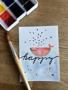 Diese Motiv macht richtig fröhlich. #diy #aquarell #watercolor #melon #cards #happy #birthday #wal #geburtstag # #geburtstagskarte  #glücklich #glückwünsche #glückwunschkarte Diy Pins, Diy Cards, Diy Painting, Birthday Cards, Wal, Journal, Watercolor Painting, Doodles, Drawing S