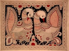 Pair of Peacocks, Folk Art Kalamkari Painting on CottonArtist K Murali India Painting, Mural Painting, Mural Art, Silk Painting, Madhubani Art, Madhubani Painting, Kunst Der Aborigines, Kalamkari Painting, Indian Folk Art