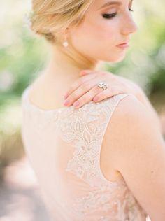 Graceful Lace and Illusion Wedding Dress Back | Jessica Gold Photography | http://heyweddinglady.com/watercolors-pastels-artistic-garden-wedding-shoot/