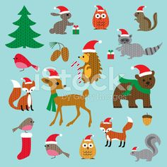 Christmas Woodland Animals royalty-free stock vector art