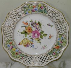 Dresden Porcelain (Germany) —  Hand Painted Floral Reticulated Plate (900x872)