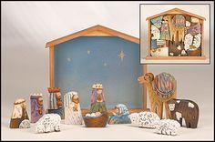Children's Nativity Set in Tiered Stable