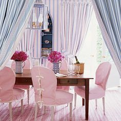 Pretty in Pink {Coastal Colors: Pastel}. Dining room home decor Decor, Room Design, Interior, Slipcovers For Chairs, Dining Room Design, Dining Room Chair Covers, Preppy Decor, Home Decor, Pink Dining Rooms