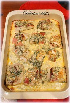 Delicious Titbits: Miruna z szynką szwarcwaldzką i serem pleśniowym w sosie koperkowym