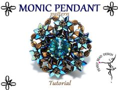 MONIC PENDANT pattern tutorial with pinch and by PearlyBeadDesign