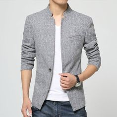 Cheap mens blazer jacket, Buy Quality men blazer directly from China fit suit Suppliers: Plus Size 2018 New Mens Blazer Jacket stand-up collar Men Casual Slim Fit Suit Coats Terno Masculino male coat Wedding dress Blazers For Men Casual, Casual Blazer, Mens Casual Coats, Casual Suit, Casual Outfits, Mens Fashion Blazer, Men Fashion, Fashion 2016, Men Blazer
