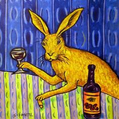 Bunny Rabbit at the Wine Bar Animal Art Tile Coaster by lulunjay, $12.49