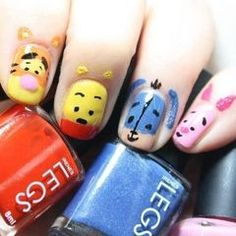 Aww.. Cute Winnie The Pooh and Friends Nail Art For Short Nails (click to see more nail art)