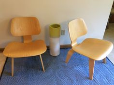 Lot 2 A Pair of Eames LCW Chairs // Herman Miller // Bent plywood and veneer chairs // by ModernaireMCMStudios on Etsy https://www.etsy.com/listing/196358599/lot-2-a-pair-of-eames-lcw-chairs-herman