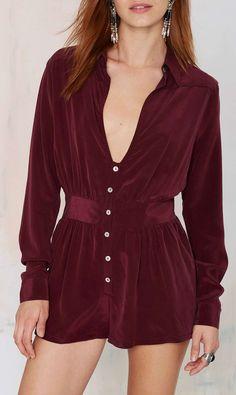 Burgundy silk romper