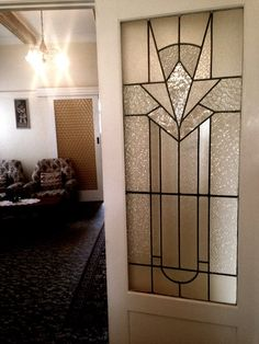 Period Charm Circa The double leadlight panelled glass doors speaks volumes about the art deco era. Glass House, Glass Door, Lighting Pattern, Glass Decor, Leadlight Windows, Art Deco Glass, Led Light Design, Mosaic Decor, Led Lights