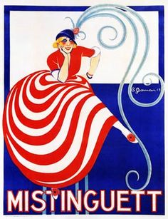 Mistinguett, 1917 early Art Deco poster by Charles Gesmar for the then ageing French cabaret sensation