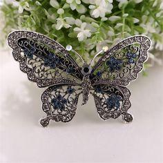New fashion alloy hairpins hair accessories for female women retro  rhinestone butterfly hairclips bridal headdress gift a02a5f68b18f