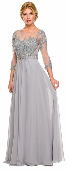 3/4 Length Sleeve Silver Formal Gown Illusion Neck Embroidery #discountdressshop #midlengthsleeve #silverdress #chiffon #embroidered #fulllengthdress #formalwear