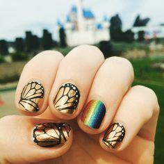 This mani pic is epic ! #mani #nails #nailart #nailtech #nailwrapguru #rainbows #butterfly #overitjn #butterflyeffectjn #castle #fantasy