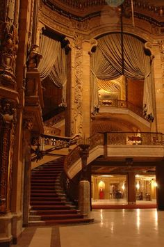 """dream mansion """"Uptown Theater Atrium """" by Steve Duncan: Buy prints, posters, canvas and framed wall art directly from thousands of independent working artists at . Victorian Interiors, Victorian Homes, Beautiful Architecture, Art And Architecture, Beautiful Homes, Beautiful Places, Casa Hotel, Grand Staircase, Home Theater"""