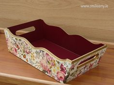 Handmade luxury basket decorated with decoupage. Can be used for bread, sweets, accessories and different small things - a lovely gift for every stylish home. Decoupage, Basket, Luxury, Handmade Gifts, Home Decor, Kid Craft Gifts, Decoration Home, Room Decor, Craft Gifts