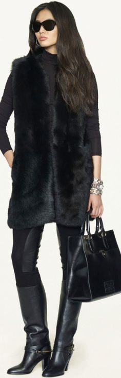 The Wonderful World of Ralph Lauren Fashion -Long Shearling Vest