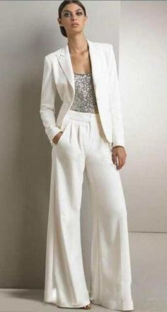 2017 Bling Sequins Ivory White Pants Suits Mother Of The Bride Dresses Formal Ch., 2017 Bling Sequins Ivory White Pants Fits Mom Of The Bride Attire Formal Ch. 2017 Bling Sequins Ivory White Pants Fits Mom Of The Bride Attire Forma. Mother Of The Groom Suits, Suit With Jacket, Wedding Pantsuit, Tomboy Wedding Dress, Wedding Tuxedos, Pants For Women, Jackets For Women, Ladies Jackets, Pantsuits For Women