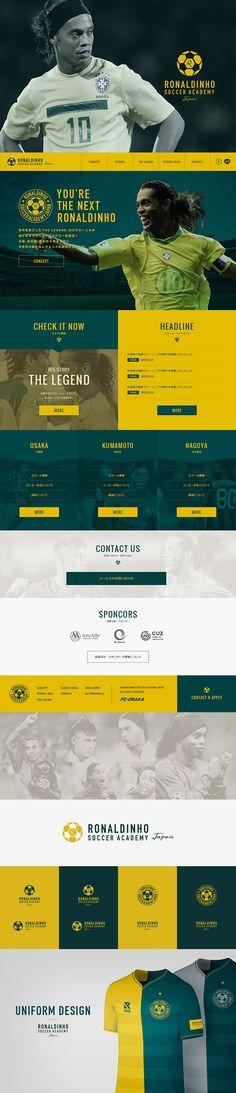 Ronaldinho Soccer Academy Japan. I create their Identity design, Website, Uniform Design and more... #ronaldinho #web #design Creative Director : Kenta Nishizawa