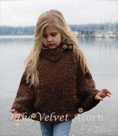 Knitting Pattern Riyver Cape 2 3/4 5/7 8/10 di Thevelvetacorn