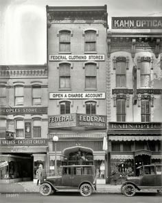 """Federal Clothing Store, 621 Seventh Street N."""" Washington, D., ca National Photo Company Collection glass negative. Vintage Pictures, Old Pictures, Old Photos, Antique Photos, Vintage Images, Vintage Items, Shorpy Historical Photos, Shopping Street, Old Buildings"""