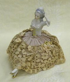 Antique German Half Doll Sewing Pin Cushion with Porcelain Legs Lace Skirt