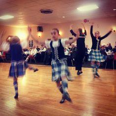 Highland dancers on Robbie Burns night at the Scottish Club