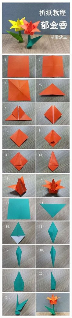 Flor de origami com caule e folha! Origami Diy, Origami Simple, Origami And Kirigami, Paper Crafts Origami, Origami Tutorial, Diy Paper, Paper Crafting, Tulip Origami, Origami Ideas