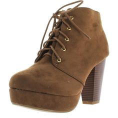 Forever Camille-86 Women's Comfort Stacked Chunky Heel Lace Up Ankle... ($34) ❤ liked on Polyvore featuring shoes, boots, ankle booties, beige, lace up ankle booties, lace up wedge ankle booties, lace up boots, lace-up wedge booties and chunky heel boots